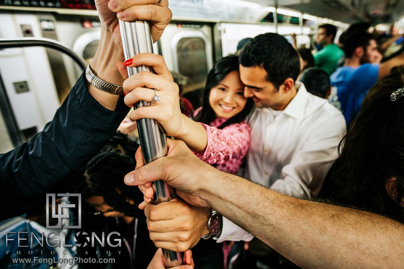 Vietnamese Indian Engagement Session in Subway in Manhattan NYC