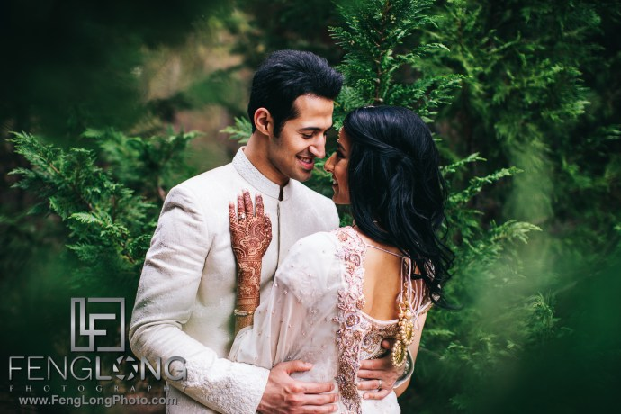 Indian wedding bride and groom portraits after Nikkah ceremony