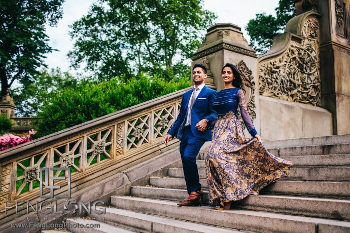 Indian Engagement Session at Bethesda Terrace in Central Park