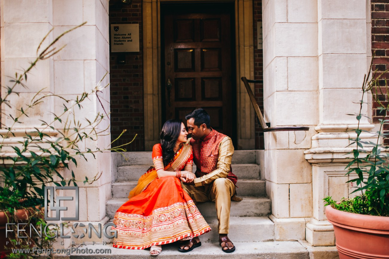 Philadelphia Indian Wedding Engagement Session at U Penn