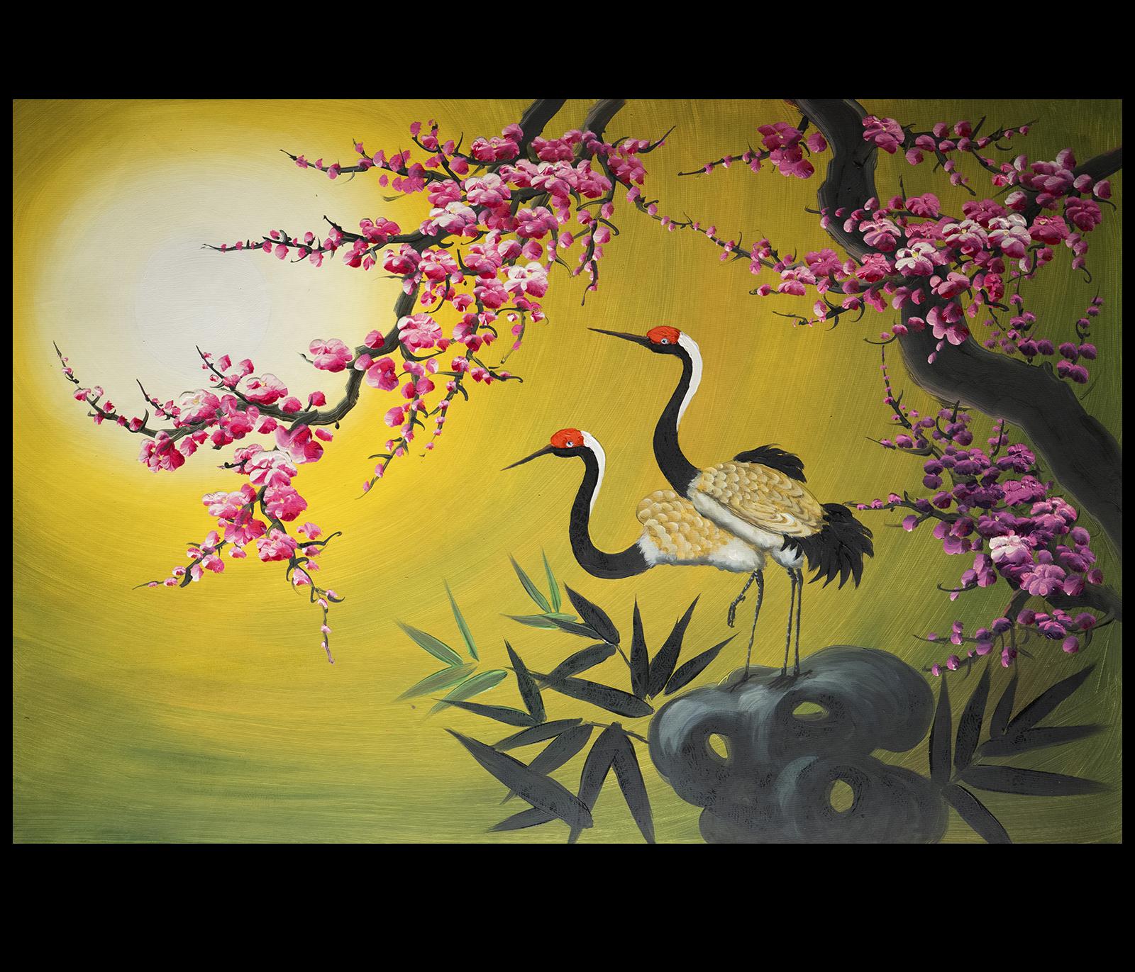 Asian Painting, Asian wall art, crane Painting