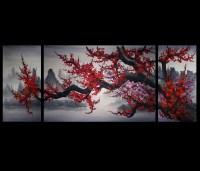 Chinese Cherry Blossom Painting Original Modern Wall Art Decor