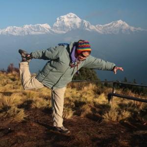 Orna Rawls doing Yoga in the Himalayas