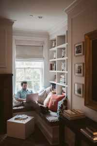 man using a laptop at home
