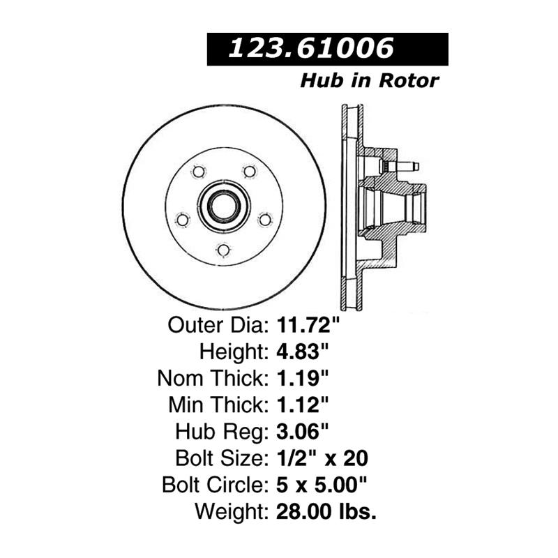 BĘBEN HAMULCOWY 123.61010 / PDR0010 CENTRIC PARTS (GT40