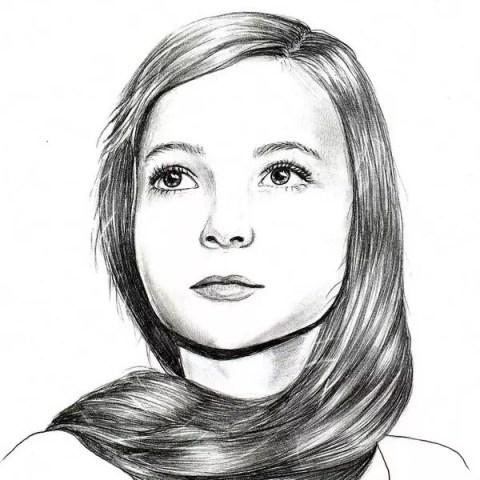 Портрет карандашом девочки с длинной косой - Fenlin.ru