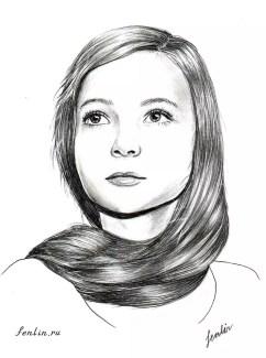 Портрет карандашом девочки с длинной косой (скан) - Fenlin.ru