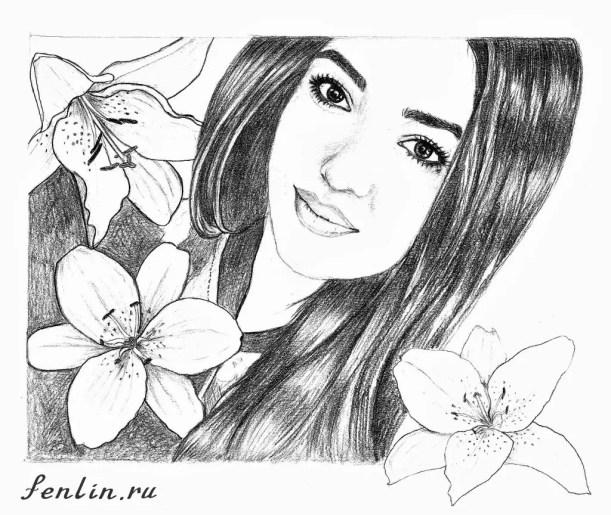 Портрет карандашом девушки с цветами (скан) - Fenlin.ru