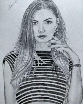Портрет карандашом девушки в тельняшке (фото) - Fenlin.ru