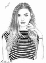 Портрет карандашом девушки в тельняшке (скан) - Fenlin.ru