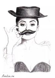 Портрет карандашом Хелены Бонэм Картер (скан) - Fenlin.ru