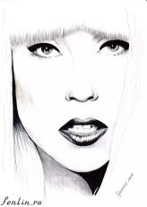 Портрет карандашом Леди Гага (Lady Gaga) - Fenlin.ru