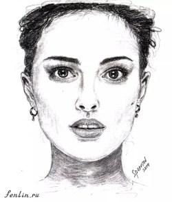 Портрет карандашом Натали Портман - Fenlin.ru