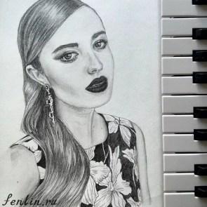 Портрет карандашом знаменитой девушки - Fenlin.ru