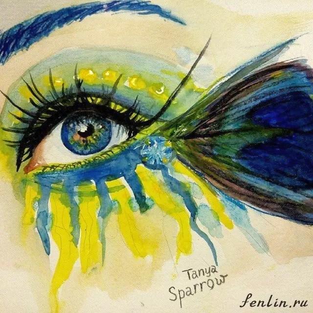 Цветной набросок акварелью женского глаза - Fenlin.ru