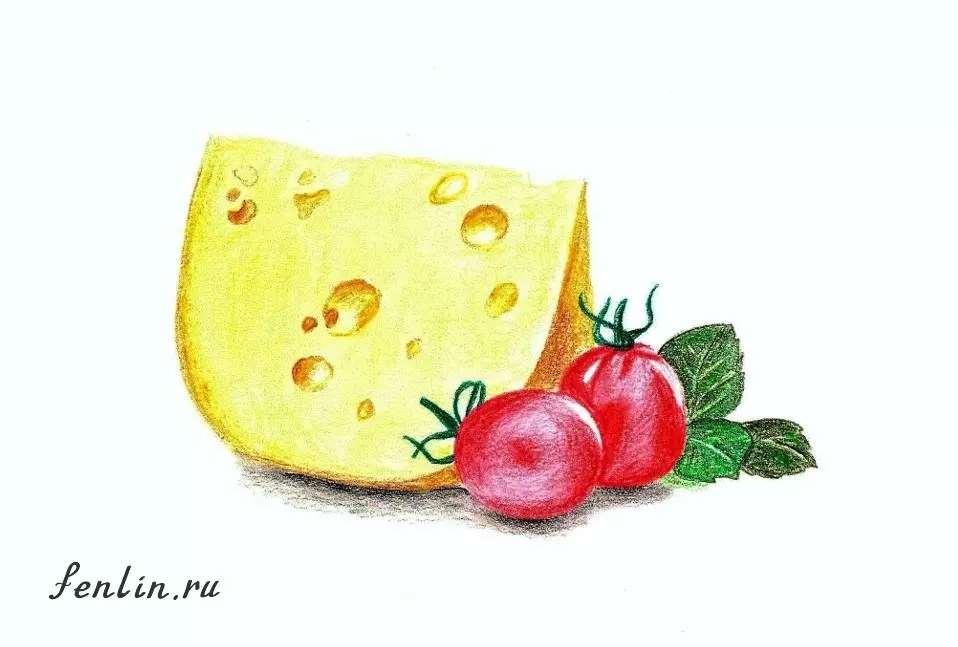 Цветной натюрморт карандашом сыр и помидоры - Fenlin.ru