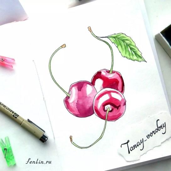 Цветной натюрморт карандашом три вишни - Fenlin.ru
