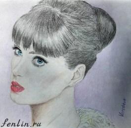 Цветной портрет карандашом девушки - Fenlin.ru