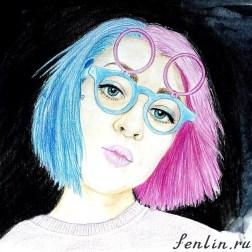 Цветной портрет карандашом девушки в очках - Fenlin.ru