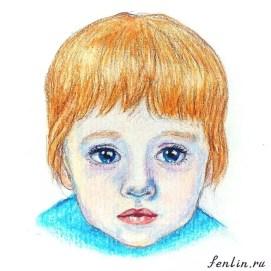 Цветной портрет карандашом мальчика - Fenlin.ru
