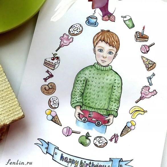 Цветной портрет карандашом мальчика с машинкой - Fenlin.ru