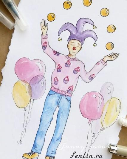 Цветной портрет карандашом жонглёра - Fenlin.ru