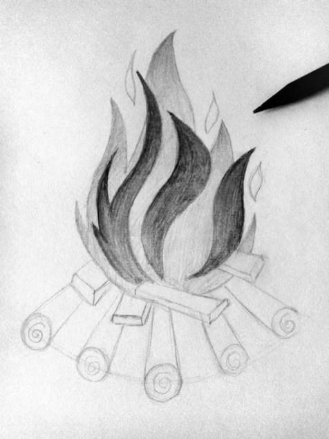 Как нарисовать огонь карандашом? Шаг 7. Портреты карандашом - Fenlin.ru