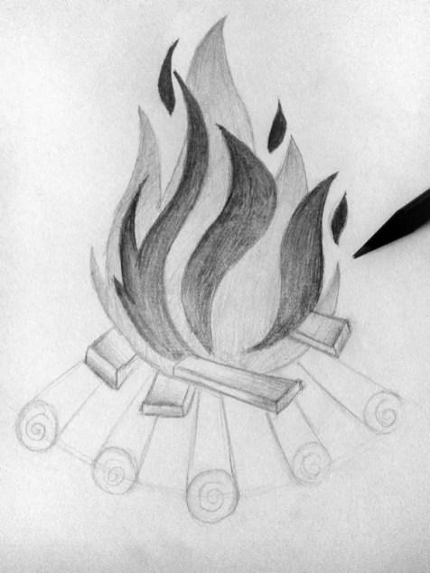 Как нарисовать огонь карандашом? Шаг 9. Портреты карандашом - Fenlin.ru