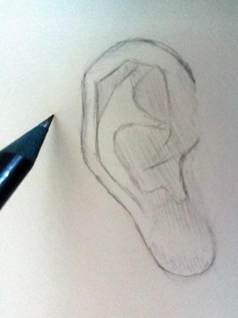 Как нарисовать ухо человека карандашом? Шаг 4. Портреты карандашом - Fenlin.ru