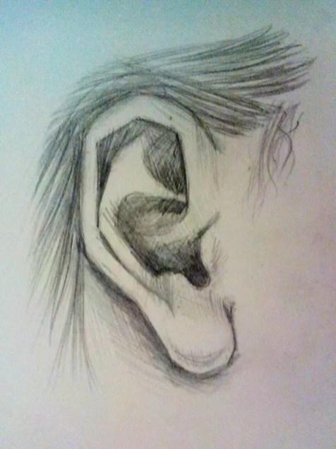 Как нарисовать ухо человека карандашом? Шаг 7. Портреты карандашом - Fenlin.ru