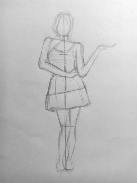 Парусником, рисунок женщины карандашом в полный рост
