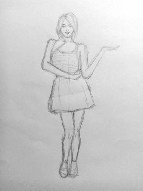Как нарисовать женщину в полный рост карандашом? Поэтапный урок. Шаг 13. Портреты карандашом - Fenlin.ru