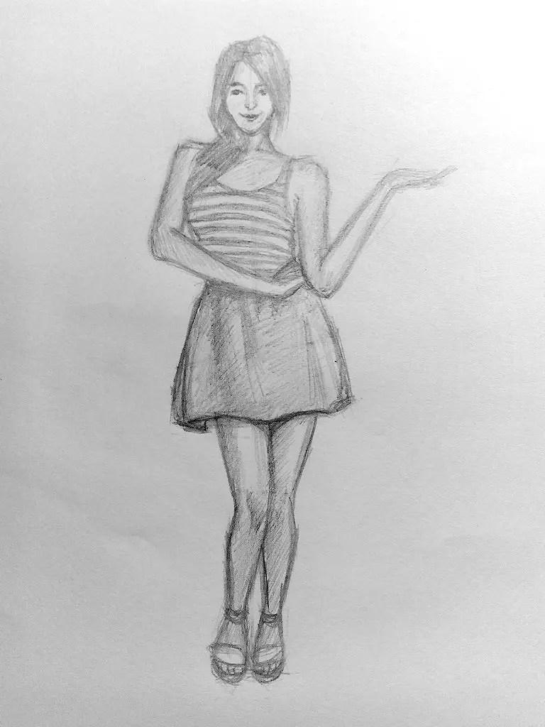 Как нарисовать женщину в полный рост карандашом? Поэтапный урок. Шаг 17. Портреты карандашом - Fenlin.ru