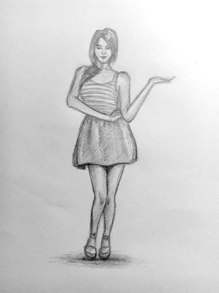 Как нарисовать женщину в полный рост карандашом? Поэтапный урок. Шаг 18. Портреты карандашом - Fenlin.ru
