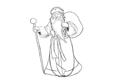 Как нарисовать Деда Мороза? Шаг 11. Портреты карандашом - Fenlin.ru