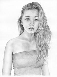 Портрет девушки карандашом (формат A3) - портреты карандашом по фотографии FenLin.ru