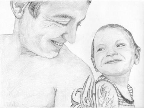Портрет мужчины и мальчика карандашом (формат A3) - портреты карандашом по фотографии FenLin.ru