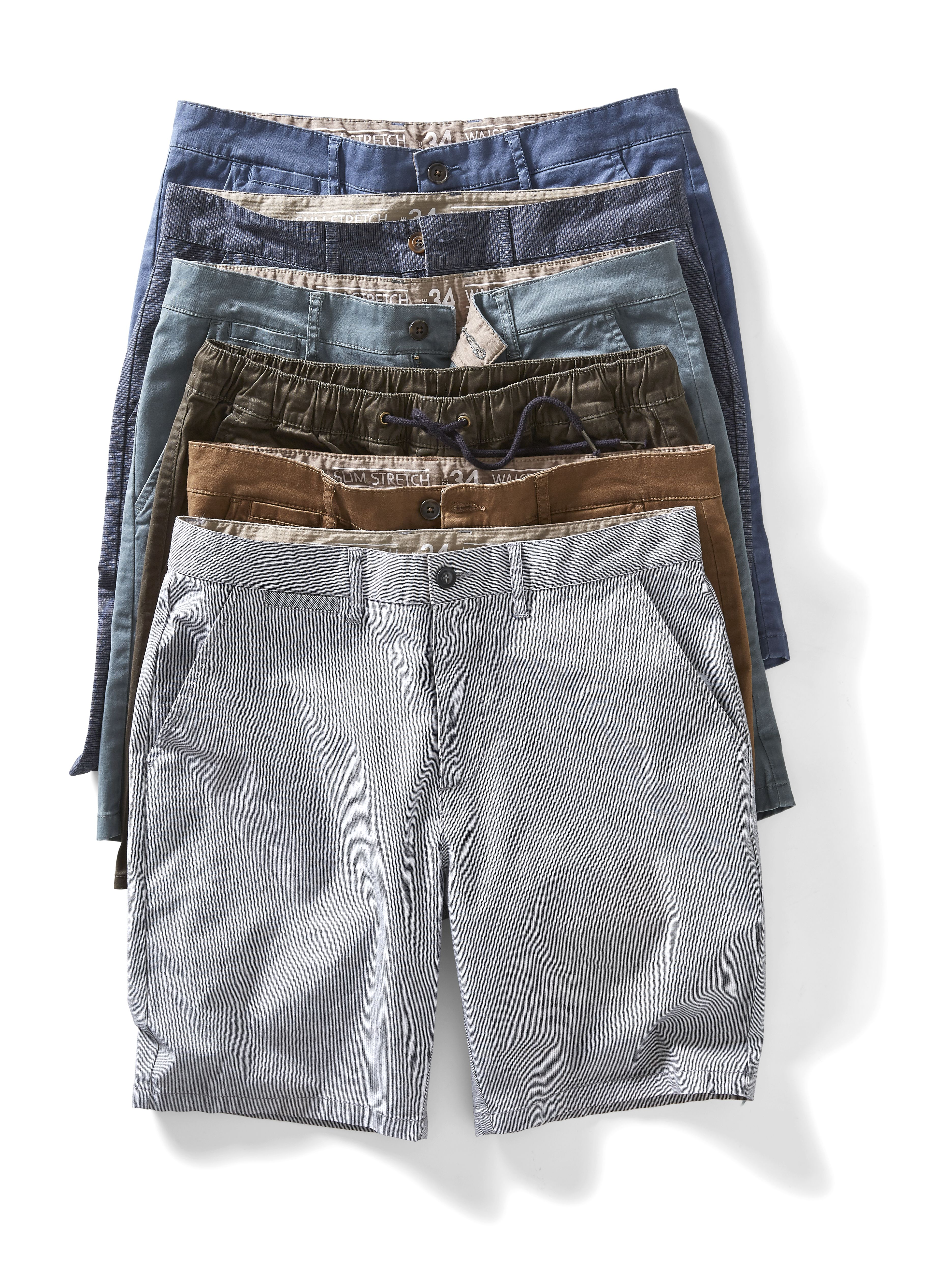 Kmart Men's Slim Fit Chino, sizes 30 - 40in, Men's Elastic Waist Jogger Shorts, sizes 30 - 40in, Men's Slim Fit Stripe Chino, sizes 30 - 40in, RRP$25ea