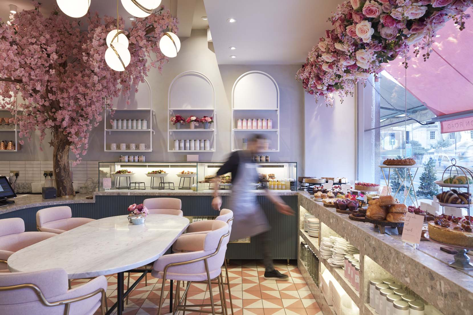 Elan cafe on Brompton Road in London - interior designed by Holland Harvey Architects.