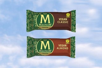 two magnum ice cream, classic flavour and almond flavour