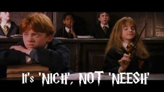Hermoine teaches Ron how to pronounce niche.