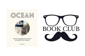 ocean book cover - a collage of past explorers and maps
