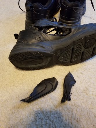 a shoe with the nike logo cut out