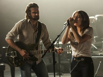 still from a star is born - bradley cooper and lady gaga sing soulfully on a stage