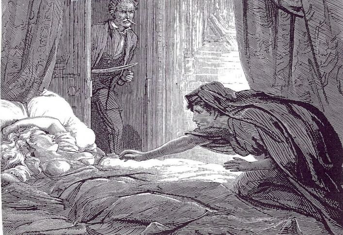 carmilla sneaks across laura's bed for a cheeky pash
