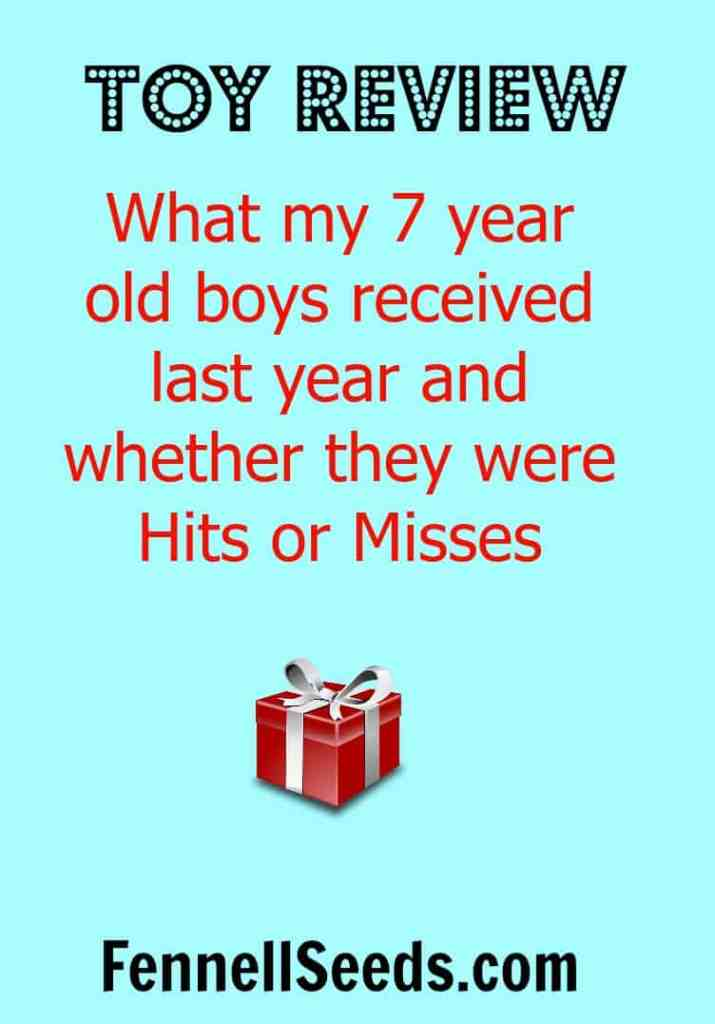 Toy Review - 7 year old Hits and Misses. What to buy 7 year old boys. These are the hits and misses of what my boys received last year.