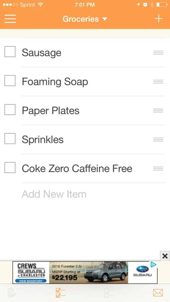 Example of my Cozi grocery list