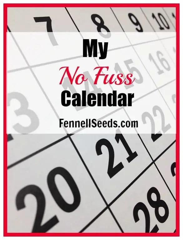 My No Fuss Calendar for 2016