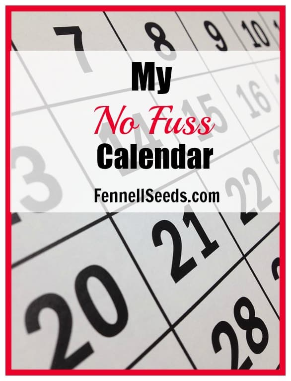 My No Fuss Calendar for 2016