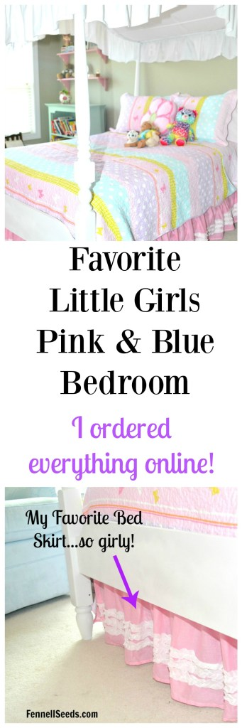 My favorite little girls pink and blue bedroom. This room incorporates a bunch of different colors. Also, everything even the comforter is ordered online. I really love the bedskirt too.